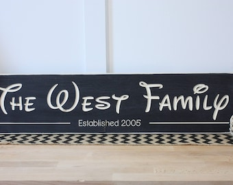 Personalized Disney Family Name Sign with Established Date Wedding Home Decor Wooden Sign - 8x30 Carved Rustic Wooden Sign