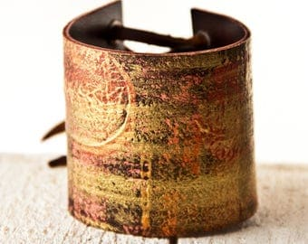 Gypsy Wristbands Bracelets Gold & Red Leather Cuffs