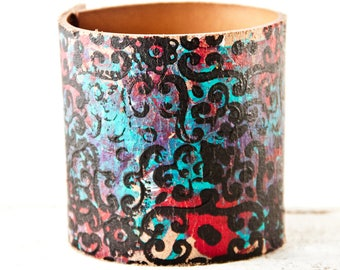 Custom Size Leather Cuff, Leather Bracelet, Wide, Leather Wristband, Leather Jewelry For Women