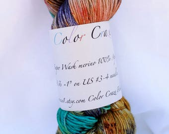 Hand dyed super wash merino speckled sock 100 grams 3.6 oz