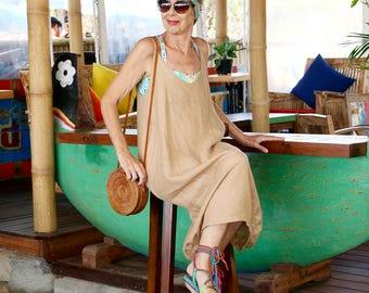 LINEN, Slip Dress, Summer Dress, Bohemian, Island Style, Beach Dress, Coverup, 7 Sizes