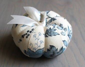 Blue and White Pumpkin Pincushion Pretty Blue and Off White Floral Print