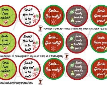 Santa Sayings bottle cap images