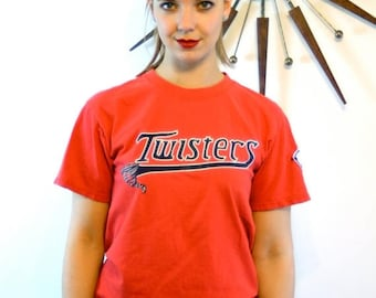 """SALE 50% OFF Vintage Sports Team T-shirt """"Twisters"""" Red Baseball Tee distressed faded holes tornado #15 Aau Usa patch Short Sleeve Crew Neck"""