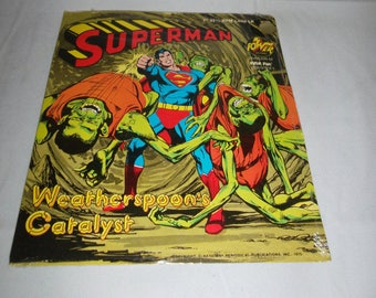 """Rare SEALED 1975 Power Records Peter Pan SUPERMAN """"Weatherspoon's Catalyst"""" 7""""  33 1/3 RPM Little Lp New"""