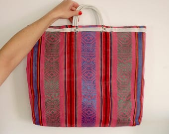 Canvas Tote Bag Vintage Striped Beach Bag