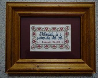 Motherhood Is - Inspirational Cross Stitch Picture - Wall Decor