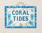 Custom Sign House Sign Beach House Sign Weatherproof Mosaic Sign Name Sign Seashell Art Ceramic Tile Sign with Shells Housewarming Gift
