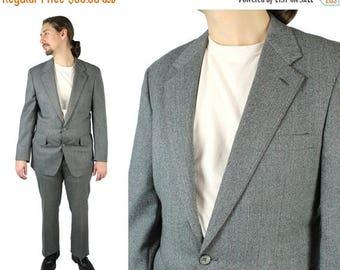 ON SALE Vintage 2 Two Piece Suit 38R 33x31 Gray Herringbone Wool Pants Blazer Jacket Free Us Shipping