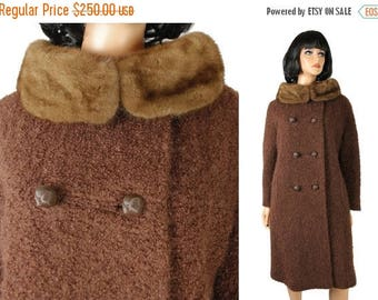 ON SALE Mink Collar Winter Coat Sz M Vintage 60s Brown Wool Mohair Boucle Fuzzy Shaggy Free Us Shipping