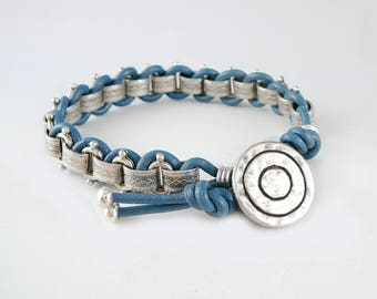 Blue Leather Bracelet for Women, Trendy Jewelry, Leather Cord Bracelet, Friendship Jewelry, Silver Chain Bracelet, BFF Bracelet,