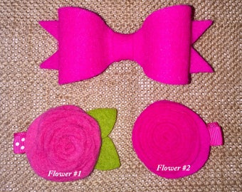 Hot Pink Flower and Bow Alligator Clip