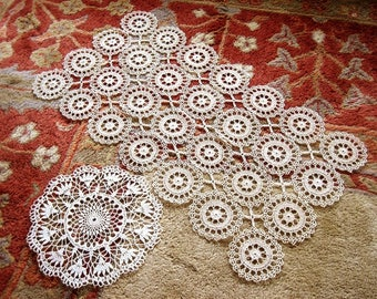 Dresser Scarf Runner Lace Tablecloth ECRU Hand Crocheted Delicate and Doily