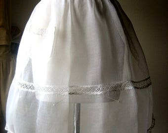 APRON Kitchen Skirt Bottom Cover PINAFORE Vintage WHITE Sheer Linen Organdy and Lace
