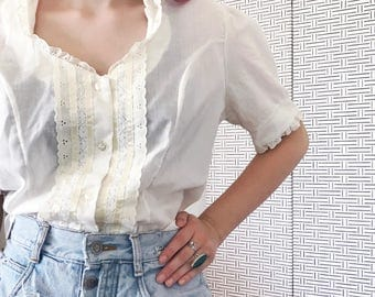 Emmie Blouse/ 70s Vintage/ White Lace Blouse/ Size Large