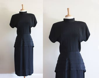 Vintage 1980s does 1940s Black Peplum Dress