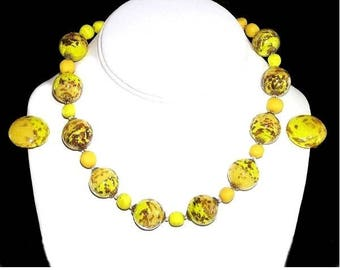 """Yellow Murano Glass """"Made in Italy"""" Necklace and Earring Set"""
