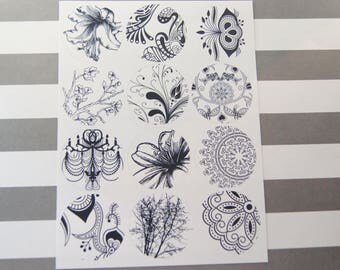 Stickers Black and White Floral Flowers Doodles Envelope Seals 24 Stickers - SES383