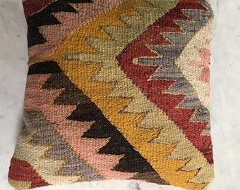 Vintage Kilim Pillow Antique Zigzag