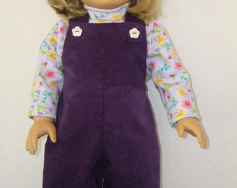 "ON SALE Fits American Girl Doll, 18"" Doll Clothes, Overalls, Bib overalls, overall, purple,turtleneck shirt, flowered shirt,am girl,READY To"