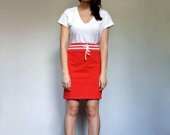 90s Red Skirt Vintage Stretchy Skirt 1990s Simple Mini Skirt Drawstring Skirt - Small S