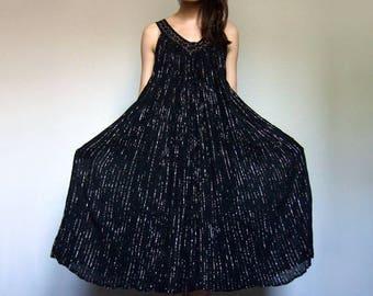 Black Gold Dress Gauze Hippie Dress Vintage 80s Boho Grecian Dress Metallic Festival Dress - Small to Large S M L
