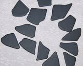 Black Faux Sea Glass recycled glass (13 pieces)