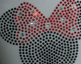 """SALE 5"""" red Minnie Mouse iron on rhinestone transfer for Disney t shirt WHOLESALE AVAILABLE"""