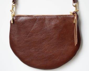 The Mini: Cinnamon brown leather crossbody bag