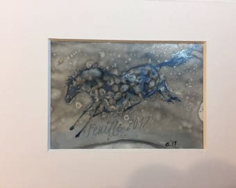 "Horse Art: Pony Over the Moon. Small 2 5/8"" x3 3/4"" Original Ink Drawing. Inks on Acid Free Yupo, Matted 4""x6"""