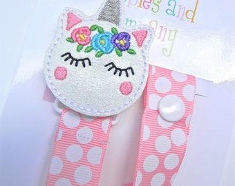 Unicorn Pacifier holder, pacifier clip, unicorn pacifier clip, unicorn baby gift, unicorn binky clip, binky holder, baby shower gift,