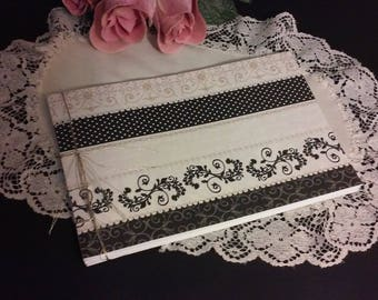 Wedding Guest Book Album - Black and White Pearls and Lace