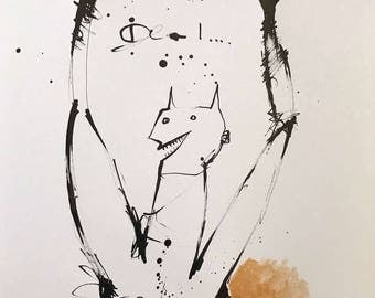 MMXVII: Deal  ~ Original Ink Drawing with Gold Acrylic Embellishment on A3 Paper
