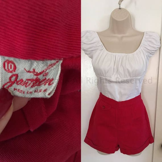 1940s 1950s JANTZEN Red High Waist Cotton Shorts with Front Small Pocket and Back Center Metal Zipper-XS