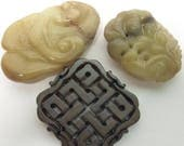 Three Undrilled Stone Carvings for Jewelry