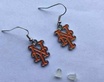 New York Met ,  Earrings, baseball, 1 inch drop, holiday gift, stocking stuffer.