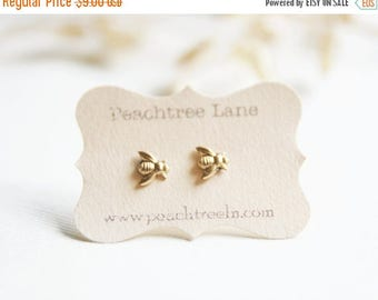 CHRISTMAS in JULY SALE Tiny Brass Bee Earrings | Honeybee Post Earrings | Bridesmaid Gifts | Bee Themed Wedding | Gold Bee Earrings | Lemona