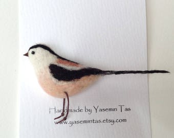Felted Long Tailed Tit Brooch