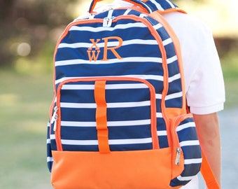 3 Piece Set - Monogrammed Navy and Orange Line-Up Backpack, Lunch Box and Pencil Case; Back to School; Perfect for Boys