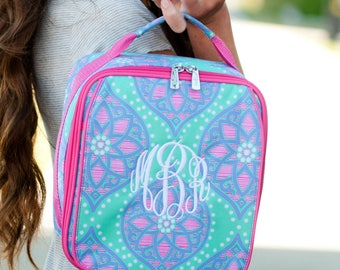 Monogrammed Hot Pink, Mint and Lavender Marlee Lunch Box; Back to School; Great for Girls