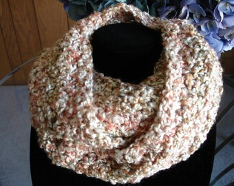 Peach/Taupe/Off-White Infinity Cowl Scarf