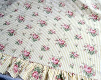 Ralph Lauren Bed Sheet - Sophie Brooke Pink Roses on Yellow Stripe - Twin Flat