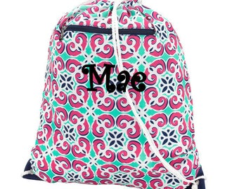 Monogrammed Mia Tile Gym Bag Drawstring Cinch Monogram School PE Personalized