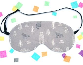 Grey Fox and Bear Sleep Mask, Forest Gift, Animal Pattern, Gray Eyemask