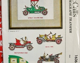 Sale:) UNCUT 1950 Vintage MCall's Kaumagraph Transfer Pattern 1636 //  Six Old Timer Automobile Designs for Embroidered Pictures