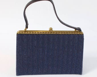 Vintage 1960s Blue Evening Clutch Purse by Block