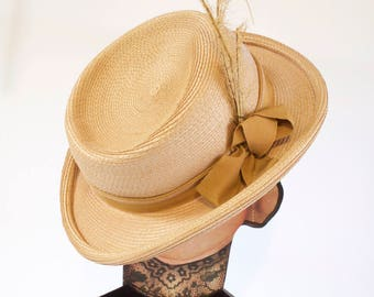 Vintage Straw Hat with ribbon and feathers by Sylvia