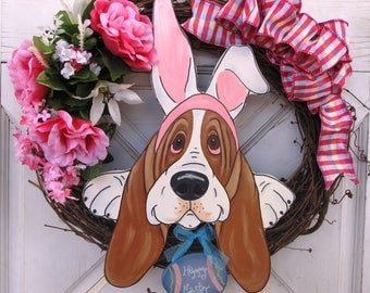 """Hand Painted Basset Hound Wreath 17"""" x 17"""" - Easter/Spring"""