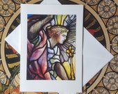 Archangel Gabriel - Fine Art Note Card of Antique Stained Glass Window, Greeting Card, Birthday Card, Blank Greeting Card, Thank You Card