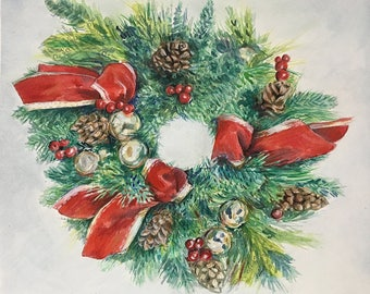 Watercolor Wreath Painting, 8x10, Christmas Art- Green Pine Branches- Red Bows, Pine Cones- Holiday- Ready To Ship